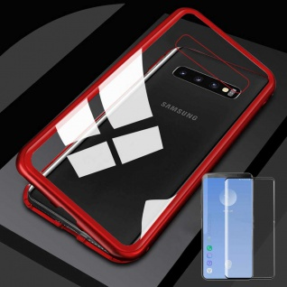 Für Samsung Galaxy S10 G973F Magnet Tasche Rot / Transparent + 0, 3 4D H9 Glas