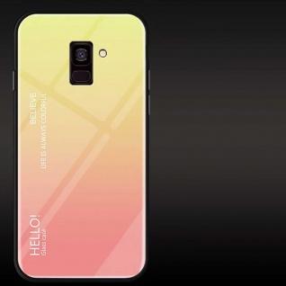 Für Samsung Galaxy J4 Plus J415F Color Effekt Glas Cover Gelb Tasche Hülle Case