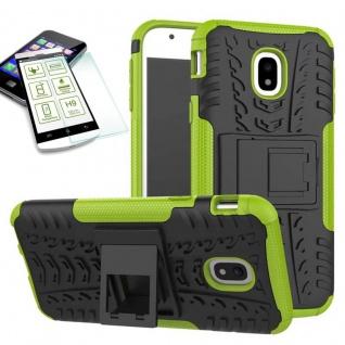 Hybrid Case Tasche 2teilig Grün für Samsung Galaxy J3 2017 J330F + H9 Hartglas