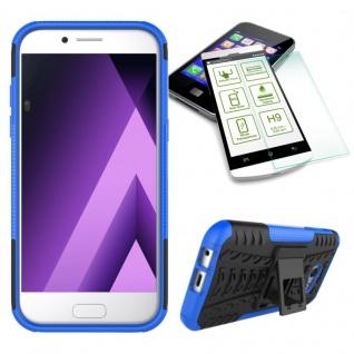 Hybrid Case Tasche 2teilig Blau für Samsung Galaxy A3 2017 A320F + H9 Hartglas