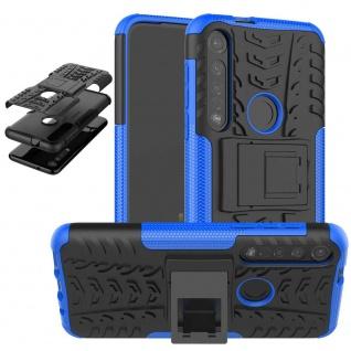 Für Motorola Moto G8 Plus Hybrid 2teilig Outdoor Blau Tasche Etuis Hülle Cover