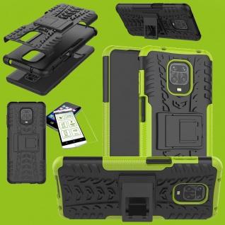 Für Xiaomi Redmi Note 9S Hybrid Handy Tasche Hülle Cover Grün + H9 Glas Panzer