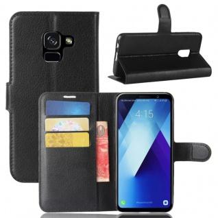 Tasche Wallet Premium Schwarz für Samsung Galaxy A8 Plus 2018 A730F Hülle Case