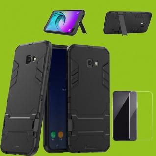 Für Samsung Galaxy J4 Plus J415F Tasche Metal Style Hülle Schwarz + 0, 26 H9 Glas