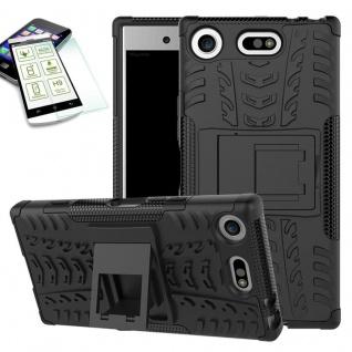 Hybrid Case 2 teilig Schwarz für Sony Xperia XZ1 Compact + H9 Hartglas Tasche