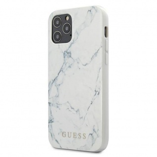 Guess Marble Collection Apple iPhone 12 / 12 Pro Weiß Hard Case Schutzhülle