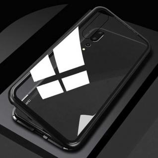 Für Xiaomi Redmi Note 7 und 7 Pro Magnet Glas Schwarz / Transparent Tasche Etuis