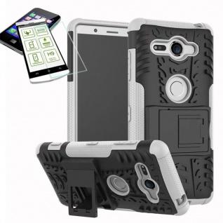 Hybrid Case 2 teilig Weiß für Sony Xperia XZ2 Compact + 0, 26 H9 Glas Tasche Neu