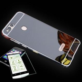 Alu Bumper 2 teilig Schwarz + 0, 3 H9 Panzerglas für Huawei Honor 7X Tasche Hülle