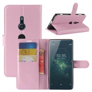 Tasche Wallet Premium Rosa für Sony Xperia XZ2 Hülle Case Cover Schutz Etui Neu