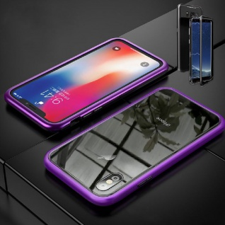 Für Apple iPhone X 10 XS 5.8 Magnet / Metall Glas Lila / Transparent Tasche Case