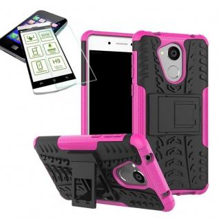 Hybrid Case Tasche Outdoor 2teilig Pink für Huawei Honor 6C Hülle Hartglas Neu