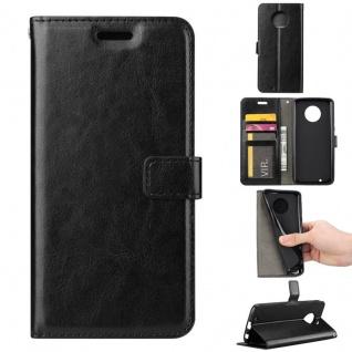 Tasche Wallet Premium Schwarz für Motorola Moto G6 Plus Hülle Case Cover Schutz