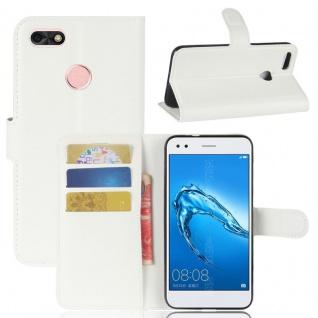 Tasche Wallet Premium Weiß für Huawei Y6 Pro 2017 / Enjoy 7 Hülle Case Cover Neu