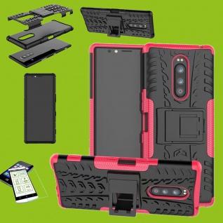 Für Sony Xperia 1 6.5 Zoll Hybrid Case Pink Hülle + 0, 3 mm H9 Glas Tasche Etuis
