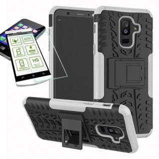 Hybrid Tasche Outdoor 2teilig Weiß für Samsung Galaxy A6 Plus A605 Hülle + Glas