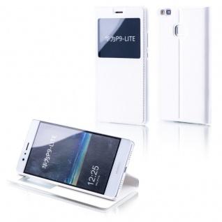 Booktasche Flip Window Weiß für Huawei P10 Lite Tasche Cover Hülle Case Etui Neu