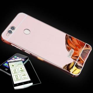 Alu Bumper 2 teilig Pink + 0, 3 H9 Panzerglas für Huawei Honor 7X Tasche Hülle