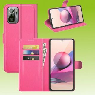 Für Xiaomi Redmi Note 10 Pro Handy Tasche Pink Etuis Kunst-Leder Cover Hülle Neu