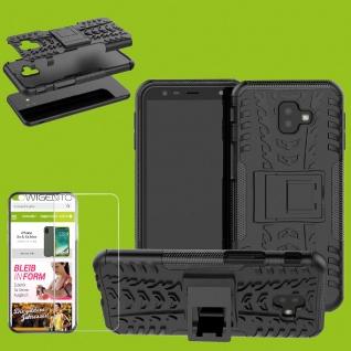 Für Samsung Galaxy J4 Plus J415F Hybrid Tasche Outdoor 2teilig Schwarz + H9 Glas