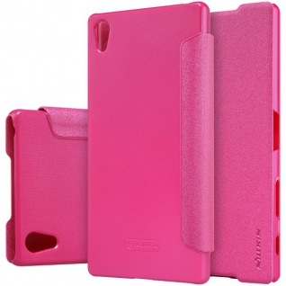 Nillkin Smartcover Pink für Sony Xperia Z5 Premium 5.5 Zoll Tasche Cover Hülle