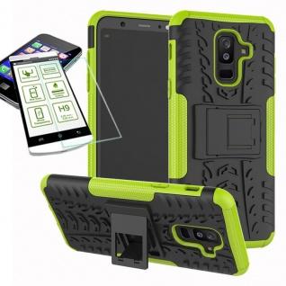 Hybrid Tasche Outdoor 2teilig Grün für Samsung Galaxy A6 Plus A605 Hülle + Glas