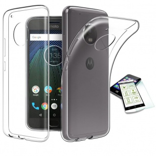 Silikoncase Transparent Tasche + H9 Hartglas für Motorola Moto E4 Plus Hülle
