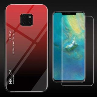 Für Huawei Mate 20 Pro Color Effekt Cover Rot Tasche Hülle + 4D Curved Glas Neu