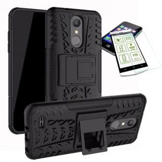 Für LG K9 2018 Hybrid Case Tasche Outdoor 2teilig Schwarz Hülle + 0, 3mm H9 Glas