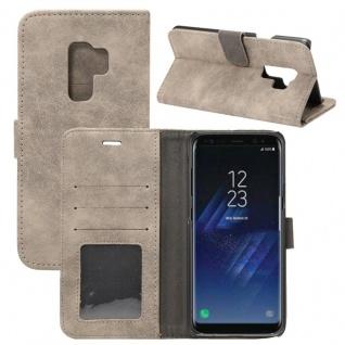 Deluxe Retro Tasche Wallet Grau für Samsung Galaxy S9 Plus G965F Hülle Case Neu