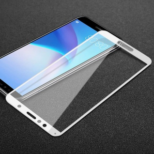 Für Huawei Y5 2018 3D Premium 0, 3 mm H9 Hart Glas Weiß Folie Schutz Hülle Neu