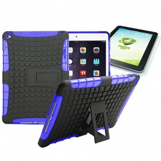 Hybrid Outdoor Schutzhülle Lila für iPad Air 2 Tasche + 0.4 H9 mm Hartglas Neu
