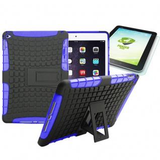Hybrid Outdoor Schutzhülle Lila für iPad Air 2 Tasche + 0.4 H9 mm Panzerglas Neu
