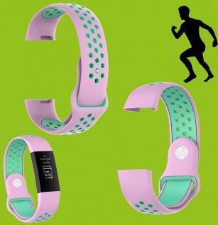 Für Fitbit Charge 3 Kunststoff Silikon Armband für Frauen Größe S Pink-Türkis