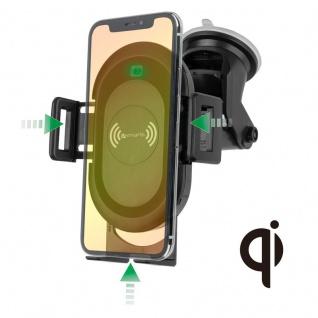 Universal KFZ Halterung Saugnapf Wireless Charging QI Schnellladestation Schwarz