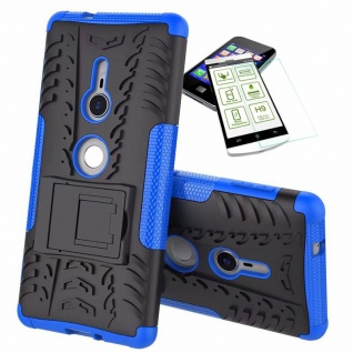 Für Sony Xperia XZ2 Hybrid Case 2 teilig Blau Hülle + 0, 3 mm H9 Glas Tasche Neu