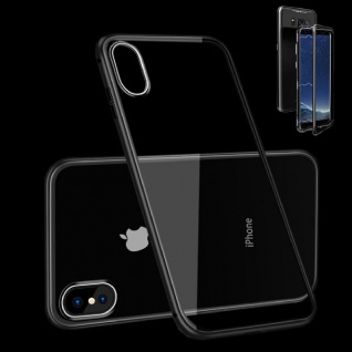 Für Apple iPhone X 10 XS 5.8 Magnet / Metall Glas Schwarz / Transparent Tasche