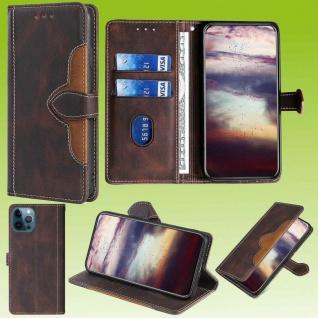 Für Apple iPhone 13 Pro Design Handy Tasche Braun Etuis Schutz Kunst-Leder Hülle