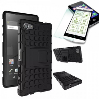 Hybrid Case Schwarz für Sony Xperia Z5 Compact 4.6 Zoll + H9 Hartglas Tasche