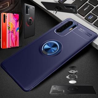 Für Huawei P30 Pro Magnet Metall Ring Dünn Hülle Blau Tasche Etuis + 4D Glas Neu