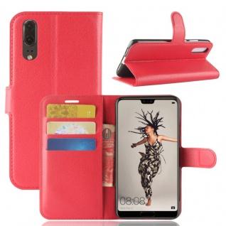Tasche Wallet Premium Rot für Huawei P20 Hülle Case Cover Schutz Etui Schale Neu