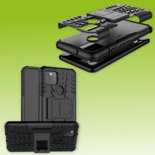 Für Google Pixel 5 Hybrid Case 2teilig Outdoor Schwarz Handy Tasche Hülle Cover