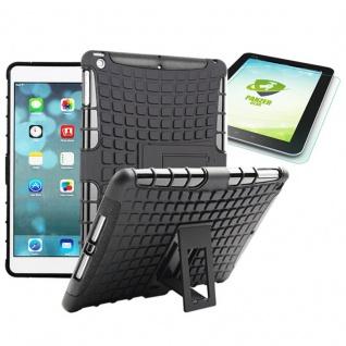 Hybrid Outdoor Schutzhülle Schwarz für iPad Air 1 Tasche + 0.4 H9 mm Hartglas