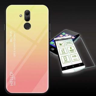 Für Huawei Mate 20 Lite Color Effekt Gelb Tasche Hülle + H9 Hart Glas Cover Neu