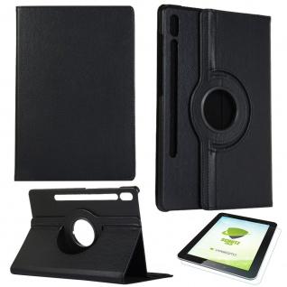 Für Samsung Galaxy Tab S7 Schwarz 360 Etuis Tablet Tasche Cover Hülle + H9 Glas
