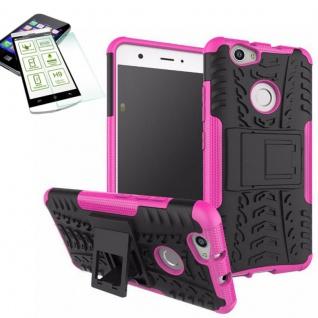 Hybrid Case Tasche Outdoor 2teilig Pink für Huawei Nova + Hartglas Cover Neu