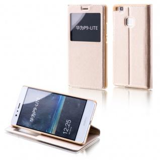 Booktasche Flip Window Gold für Huawei P9 Lite Tasche Smart Cover Hülle Neu Etui