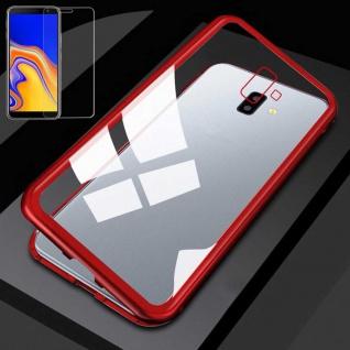 Für Samsung Galaxy J4 Plus J415F Magnet Tasche Rot / Transparent + H9 Glas Hülle