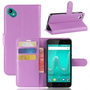 Tasche Wallet Premium Lila für Wiko Sunny 2 Plus Hülle Case Cover Etui Schutz