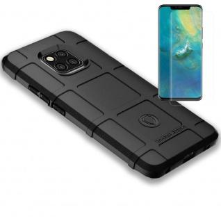 Für Huawei Mate 20 Pro Tasche Shield Silikon Schwarz + H9 4D Full Curved Glas